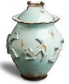 Designer Carmel Ceramica Dog Treat Jar - Baby Blue