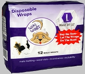 Wiki Wags Brand Disposable Male Dog Wraps Bellybands Large (25