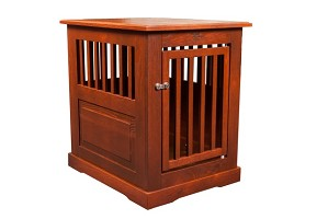 Dynamic Accents Amish Crafted Fortress Oak End Table Pet Crate Medium Mahogany