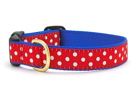 Up Country Swiss Dot Dog Collar Blue Red