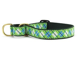 Up Country Blue and Green Argyle Martingale Dog Collar