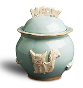 Designer Carmel Ceramica Cat Treat Jar - Sky Blue
