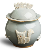 Designer Carmel Ceramica Cat Treat Jar - French Grey