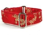 Satin Lined Elite Martingale Cherry Blossoms - Red