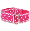 2 Hounds Design Satin Lined Elite Dog Collar Chevron Hearts Pink 1.5