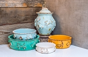 Designer Carmel Ceramica Dog Food and Water Bowls