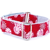 2 Hounds Design Holiday Peppermint Dog Collar or Martingale
