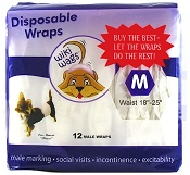 Wiki Wags Brand Disposable Male Dog Wraps/Bellybands Medium (18