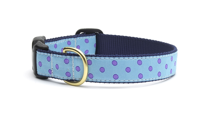 Up Country Blue Purple Dot Dog Collar