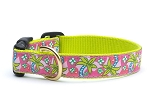 Up Country Pink Palms Dog Collar Pink on Lime Green