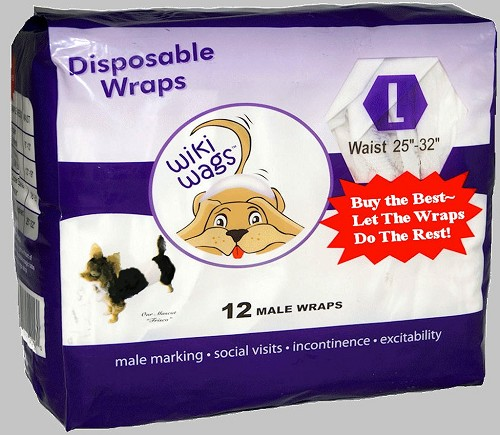 "Wiki Wags Brand Disposable Male Dog Wraps Bellybands Large (25"" - 32"")"