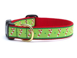 Up Country Candy Canes Holiday Dog Collar