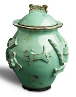 Designer Carmel Ceramica Dog Treat Jar - Aqua Green