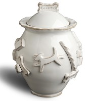 Designer Carmel Ceramica Dog Treat Jar - French White
