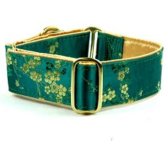 2 Hounds Design Satin Elite Dog Collar Cherry Blossoms - Emerald