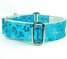 2 Hounds Design Satin Lined Elite Dog Collar Dragons Turquoise
