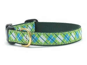 Up Country Blue Green Argyle Dog Collar