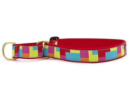 Up Country Color Block Martingale Ribbon Dog Collar