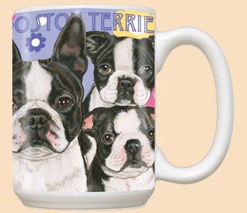 Boston Terrier Dog Breed Mugs Purple Background