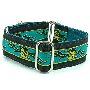 2 Hounds Design Dog Collar or Martingale  Paw Yang Teal