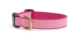 Up Country Pink Gingham Dog Collar