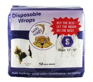 "Wiki Wags Brand Disposable Male Dog Wraps Bellybands Small (12""-19"")"