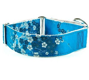 2 Hounds Design Satin Lined Elite Dog Collar Cherry Blossoms - Teal