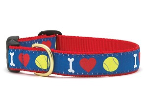 Up Country I Heart Tennis Dog Collar