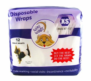 "Wiki Wags Brand Disposable Male Dog Wraps/Bellybands Extra Small (6""-13"")"